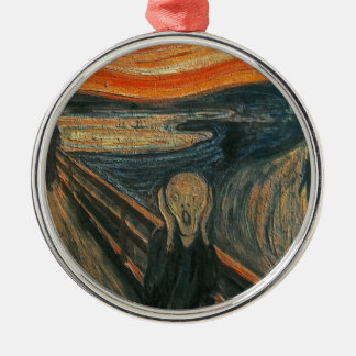 The Scream (Textured) by Edvard Munch Metal Ornament