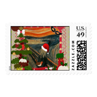 the scream ugly christmas postage stamp