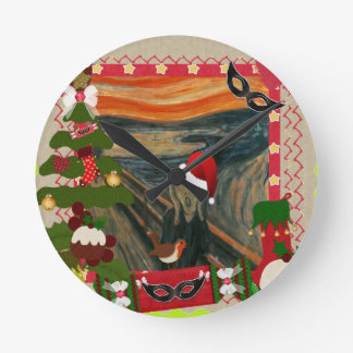 the scream ugly christmas round clock