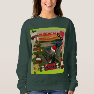 the scream ugly christmas womens sweatshirt