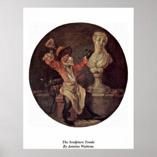 The Sculpture Tondo By Antoine Watteau Print