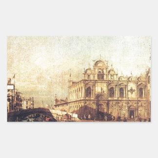 The Scuola of San Marco by Bernardo Bellotto Rectangular Sticker