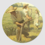The Scythers (Back to the Farm) by NC Wyeth Classic Round Sticker