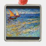 The sea at Saintes-Maries by Van Gogh Christmas Ornaments