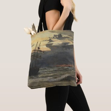 Beach Themed The Sea-Beach after a Storm  Time, Dawn Tote Bag