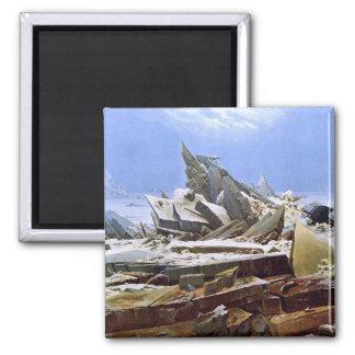 The Sea of Ice, Caspar David Friedrich 2 Inch Square Magnet