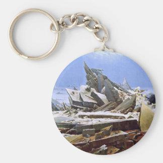 The Sea of Ice, Caspar David Friedrich Basic Round Button Keychain
