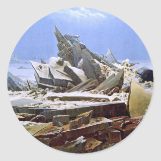 The Sea of Ice, Caspar David Friedrich Classic Round Sticker