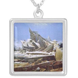 The Sea of Ice, Caspar David Friedrich Square Pendant Necklace