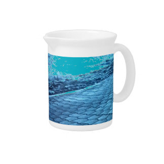 The Sea Shore, Serenity Blue Nature Photo Beverage Pitcher