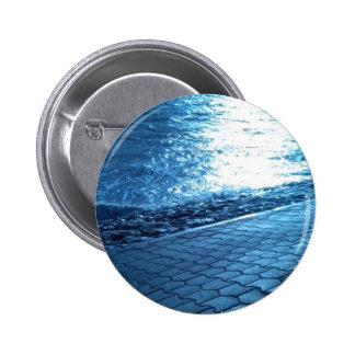 The Sea Shore, Serenity Blue Nature Photo Pinback Button
