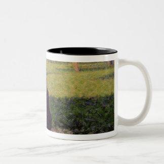 The seamstress, or Sunday at the Grande Jatte, stu Two-Tone Coffee Mug