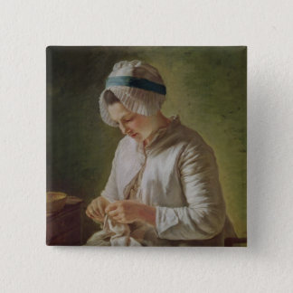 The Seamstress or, Young Woman Working Button