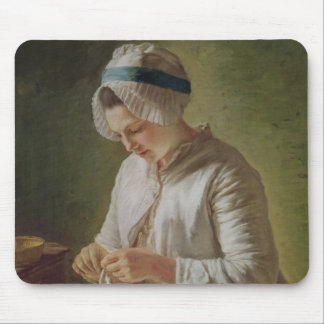 The Seamstress or, Young Woman Working Mouse Pad