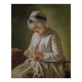 The Seamstress or, Young Woman Working Poster