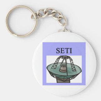 the search for extrterrestrial intelligence: seti basic round button keychain