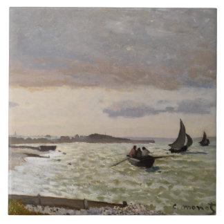 The Seashore at Sainte-Adresse, 1864 Ceramic Tile