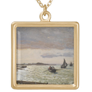 The Seashore at Sainte-Adresse, 1864 Gold Plated Necklace