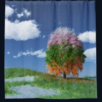 The Season Tree Shower Curtain