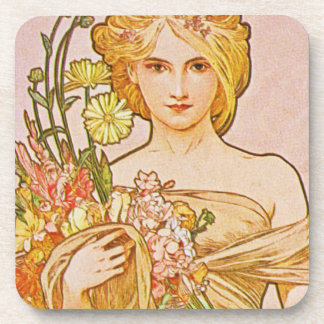 The Seasons: Spring Printemps, 1900 Alphonse Mucha Drink Coaster