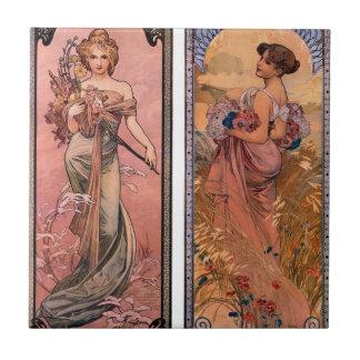 The seasons (Spring, Summer) by Alphonse Mucha Ceramic Tile