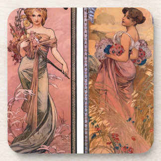 The seasons (Spring, Summer) by Alphonse Mucha Coaster