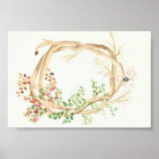 The Seasons Wreath: Apple Tree with Bird Nest Poster