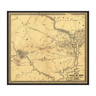 The Seat Of War Northern Virginia Civil War Map Canvas Print
