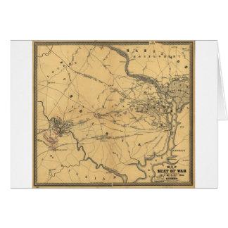 The Seat Of War Northern Virginia Civil War Map Greeting Card