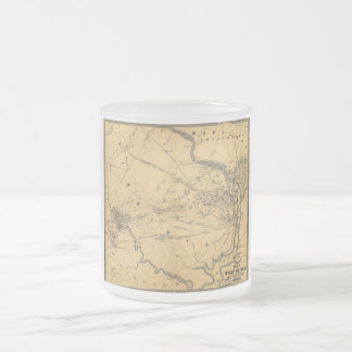 The Seat Of War Northern Virginia Civil War Map Frosted Glass Coffee Mug