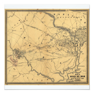The Seat Of War Northern Virginia Civil War Map 5.25x5.25 Square Paper Invitation Card