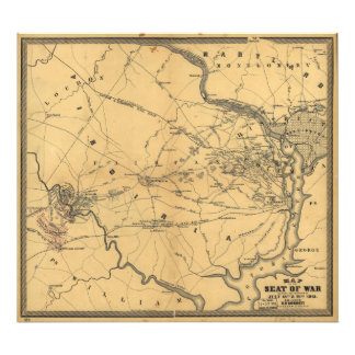 The Seat Of War Northern Virginia Civil War Map Photo Print