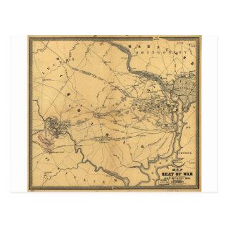 The Seat Of War Northern Virginia Civil War Map Postcard