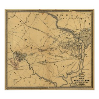 The Seat Of War Northern Virginia Civil War Map Posters