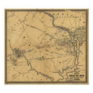 The Seat Of War Northern Virginia Civil War Map Poster