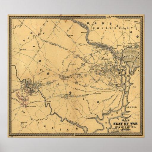The Seat Of War Northern Virginia Civil War Map Poster