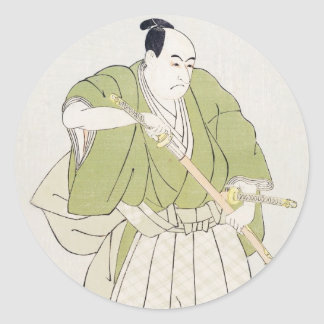 The Second Sawamura Sojuro in the Role of Yenya Classic Round Sticker
