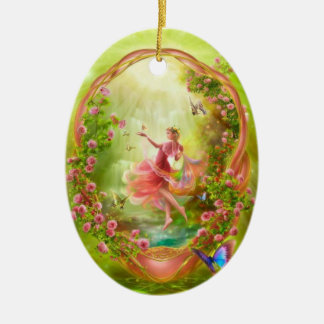 The Secret Garden Double-Sided Oval Ceramic Christmas Ornament