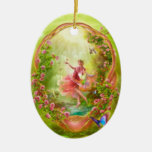 The Secret Garden Double-Sided Oval Ceramic Christmas Ornament