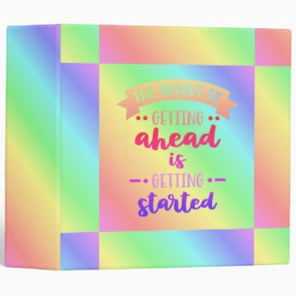 The Secret To Getting Ahead Pastel Colored 3 Ring Binder