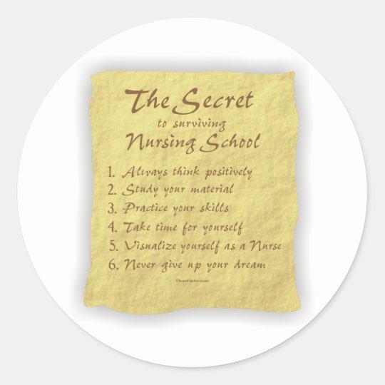 The Secret to Surviving Nursing School Classic Round Sticker