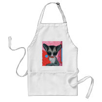 sugar, fueled, michael, banks, glider, animal, creepy, cute, big, eyed, pop, surrealism, lowbrow, pink, bear, coallus, Apron with custom graphic design