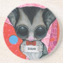 sugar, fueled, michael, banks, glider, animal, creepy, cute, big, eyed, pop, surrealism, lowbrow, pink, bear, coallus, Descanso para copos com design gráfico personalizado