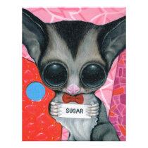 sugar, fueled, michael, banks, glider, animal, creepy, cute, big, eyed, pop, surrealism, lowbrow, pink, bear, coallus, Papel de cartas com design gráfico personalizado