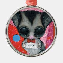 sugar, fueled, michael, banks, glider, animal, creepy, cute, big, eyed, pop, surrealism, lowbrow, pink, bear, coallus, Ornament with custom graphic design