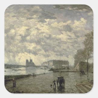 The Seine and Notre Dame Square Sticker