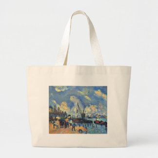 The Seine at Bercy by Paul Cezanne Large Tote Bag