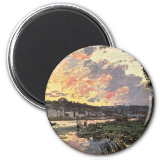 The Seine at Bougival in the Evening (1870) 2 Inch Round Magnet