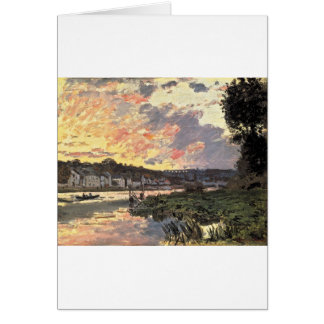 The Seine at Bougival in the Evening (1870) Greeting Card