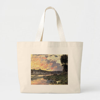The Seine at Bougival in the Evening (1870) Large Tote Bag